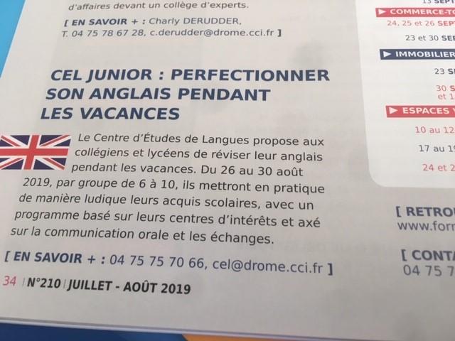 Le Centre d'Etude de Langues de Valence propose fin Août un module CEL JUNIOR